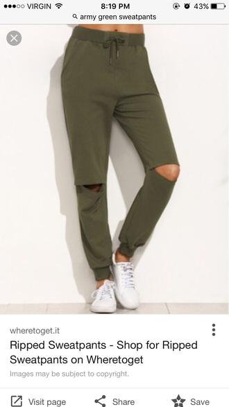 pants army green sweatpants