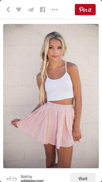 skirt crop tops top skater skirt circle skirt white crop tops pink skirt