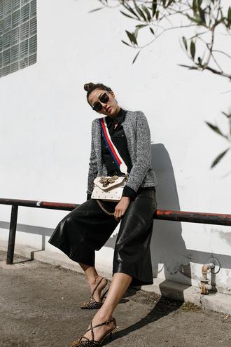 the chriselle factor blogger jacket blouse pants shoes bag