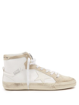 top high leather suede white