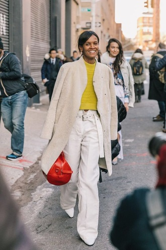 pants white pants white coat coat sweater yellow sweater bag red bag streetstyle