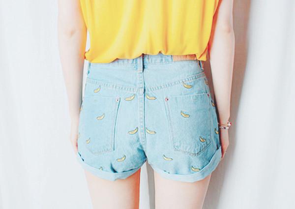 shorts banana print blue light blue light denim cute yellow high waisted denim shorts