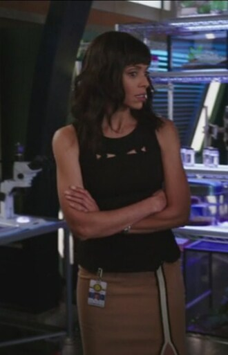 top black cut-out beige skirt nude peplum tamara taylor bones tv show dr. camille saroyan embroidered