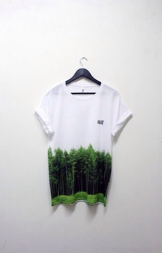 shirt white green tree t-shirt forest hipster tumblr boyfriend tshirt black green. white. tee. shirt. shire cool great fashion style summer 2014 bla pink full length forever hill model heart ball sparkle sequins top fading forest tshirt