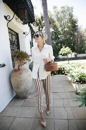 damsel in dior,blogger,shirt,sunglasses,shoes,top,pants,striped pants,white shirt,round bag