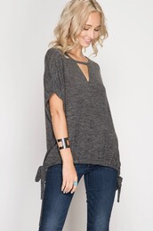 top,charcoal,grey,marled,cut-out,dolman sleeves