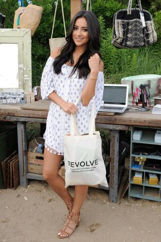 dress off the shoulder shay mitchell sandals summer summer dress summer outfits boho dress beach shoes