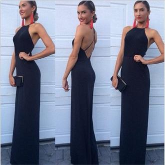 backless dress long prom dress blue dress thin strap dress