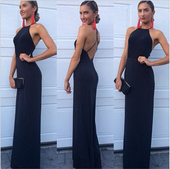 blue dress backless dress thin strap dress long prom dress