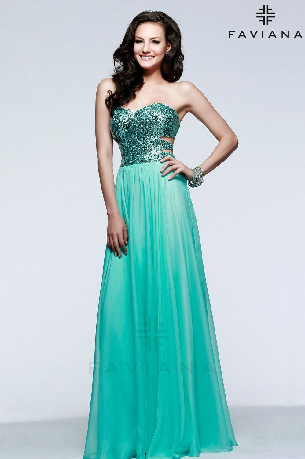 line Sexy Mint green and pink chiffon diamond Prom Dress 2015 ...