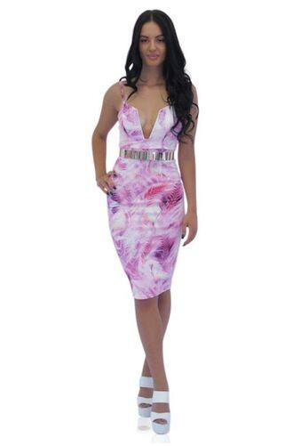 dress pink floral bodycon dress v plunge midi dress