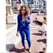 jacket,blue,blazer suit top,pants,jumpsuit