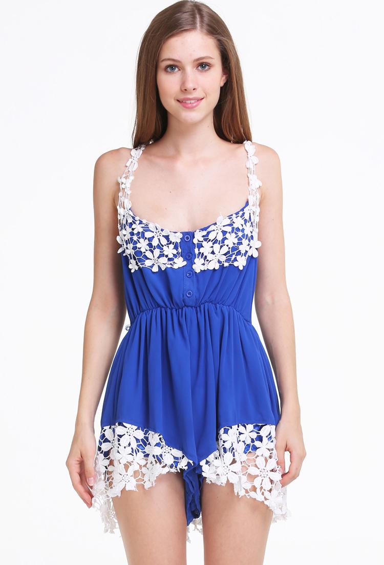 Blue Spaghetti Strap Lace Chiffon Jumpsuit - Sheinside.com
