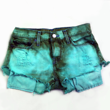 Tropical Teal Shorts - Arad Denim