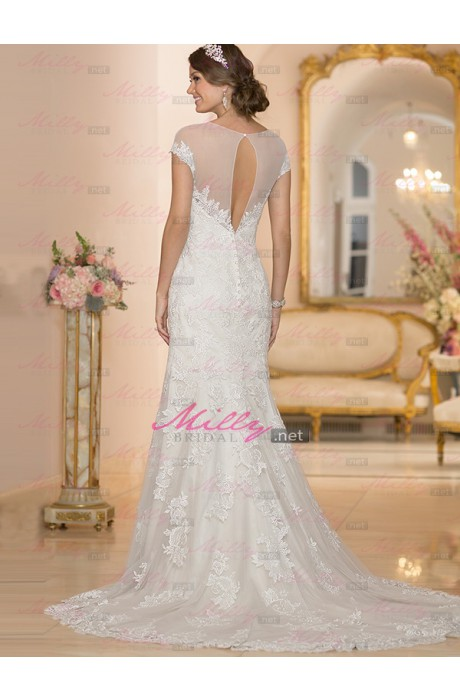 Buy chapel train sheath/column tulle 2015 wedding dress at millybridal.net