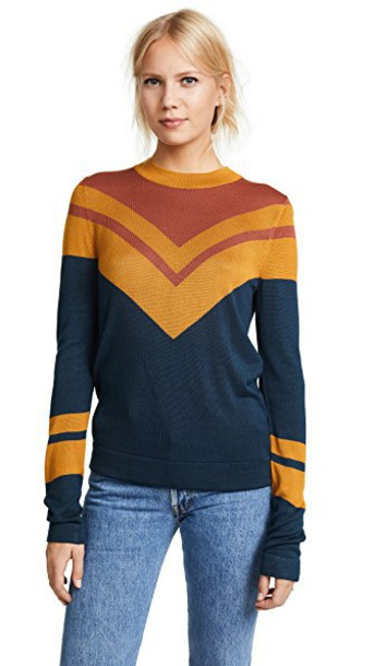 Free People sweater stripes navy