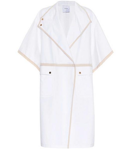 Agnona Cotton and silk cape coat in white