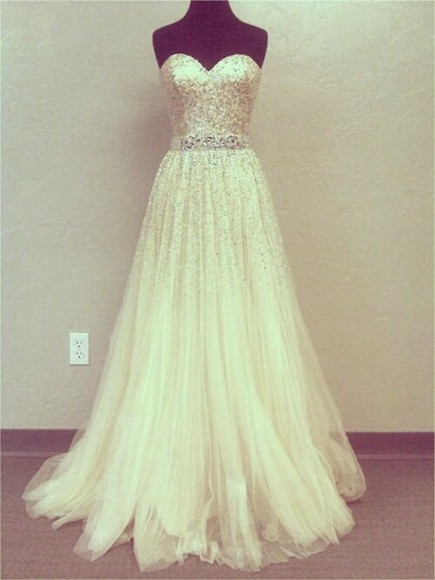 dress white dress strapless dress prom dress cute dress long prom dress sequin dress, gold, sparkles, glitter, sleeveless