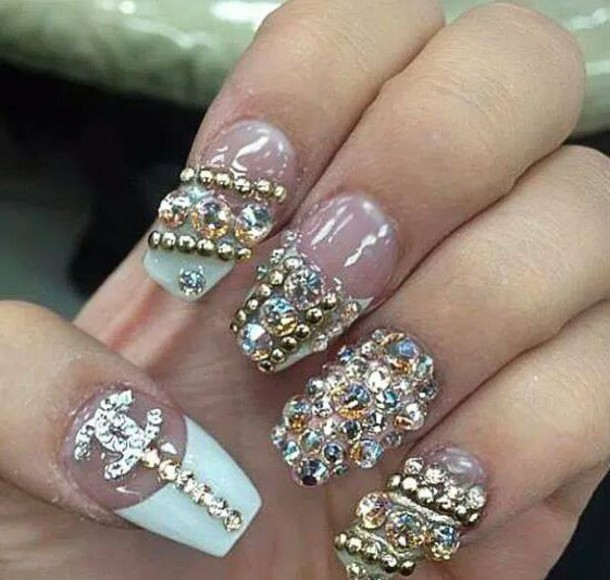 Nail polish: nail art, diamonds, chanel, cute - Wheretoget