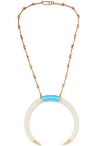 moon necklace gold turquoise jewels