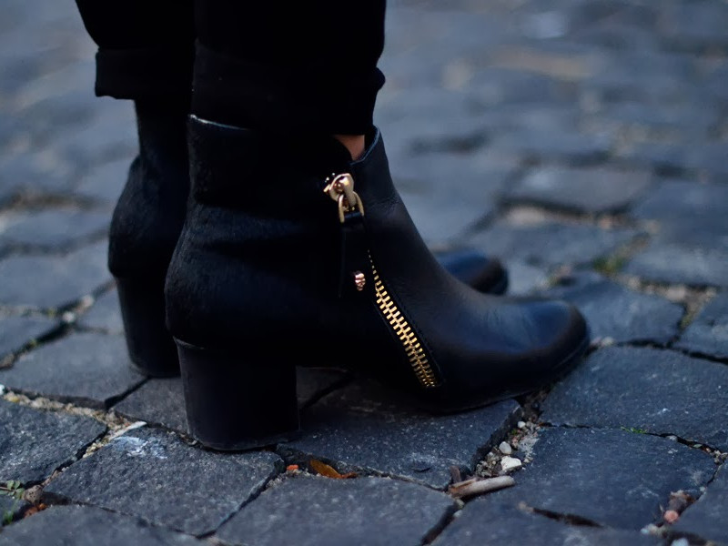 Black Zip Ankle Boots With Ponyskin | Choies