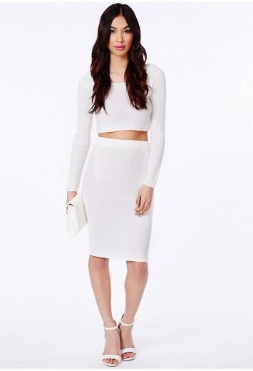 Gricka Ribbed Midi Skirt - Skirts - Midi Skirt - Missguided