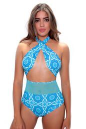 swimwear,blue,one piece swimsuit,fashion,style,trendy,hot,cool,sexy,bikiniluxe,del mar swim,light blue,mesh bikini,printed bikini