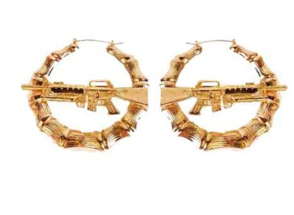 gold gun gold jewels gun boucle d'oreille earrings gold earings