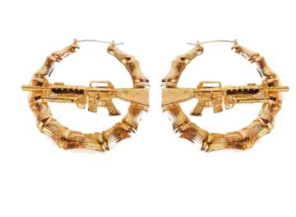 jewels gold boucle d'oreille earrings gold earings gun gold gun