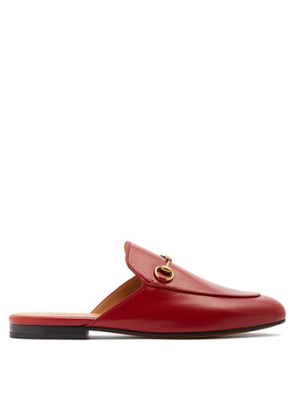 backless loafers leather red shoes