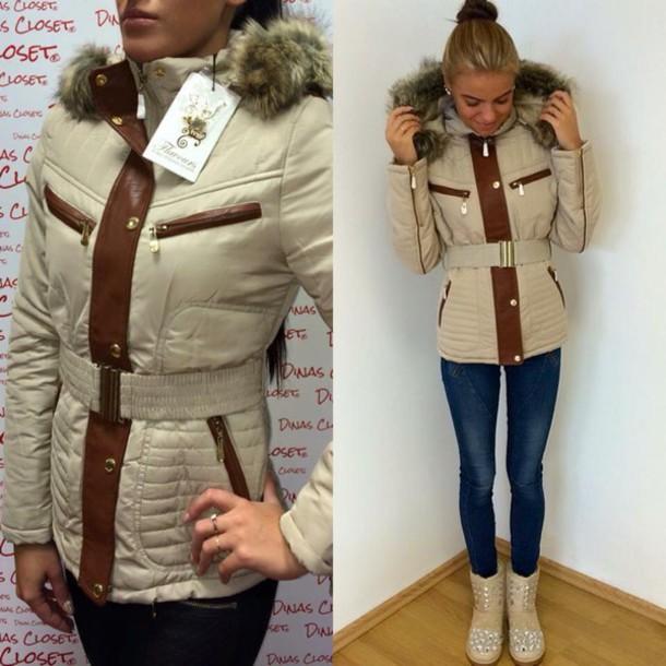 e76724af4d5664 jacket beige winter outfits winter coat winter jacket brown detailing women  autumn shoes