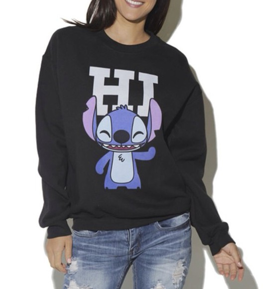 varsity sweater hipster lilo and stitch disney graphic