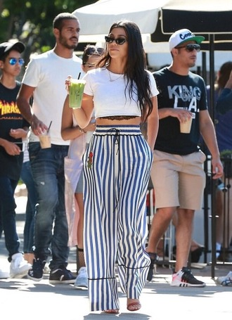 pants stripes striped pants kourtney kardashian kardashians crop tops top bra bralette lace bra underwear