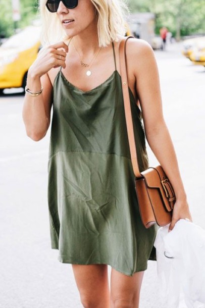 bfe3c34d7e7 dress olive green spaghetti strap slip dress short dress summer dress