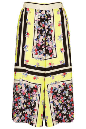 Fluro Floral Border Culottes - Topshop