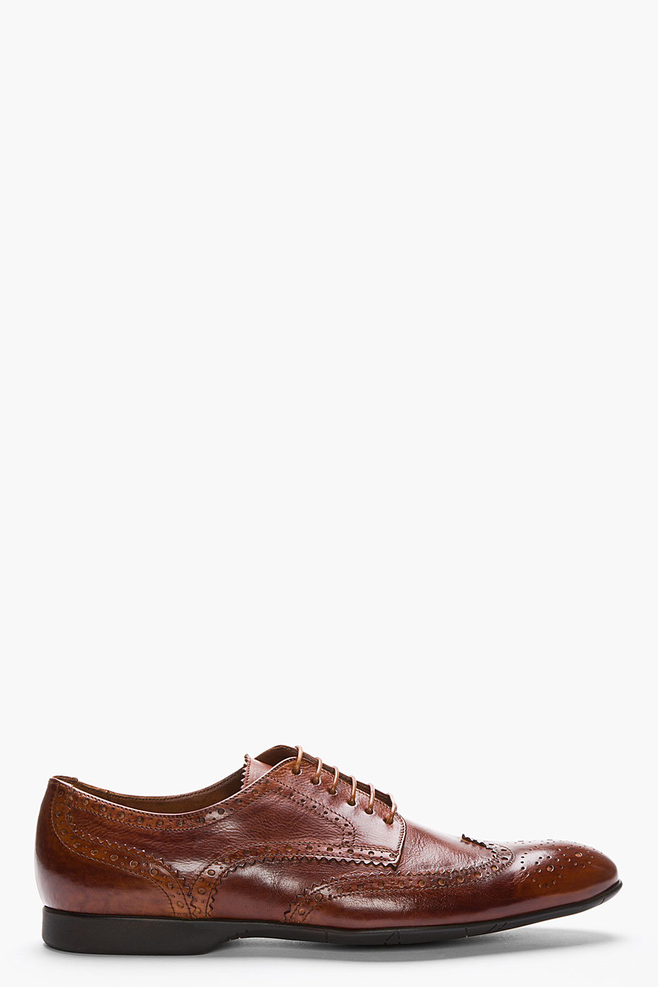 Ps by paul smith tan leather milton dip dyed wingtip brogues