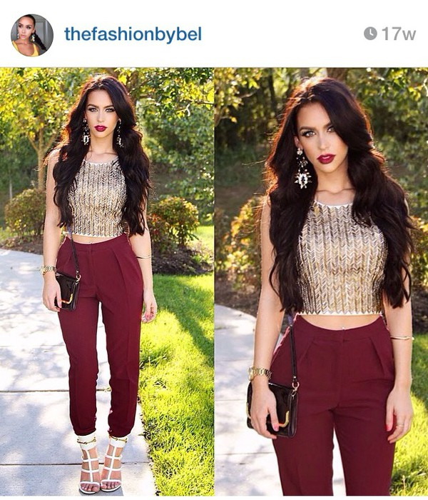 outfit pants burgundy dope carli bybel instagram indie hipster top shoes