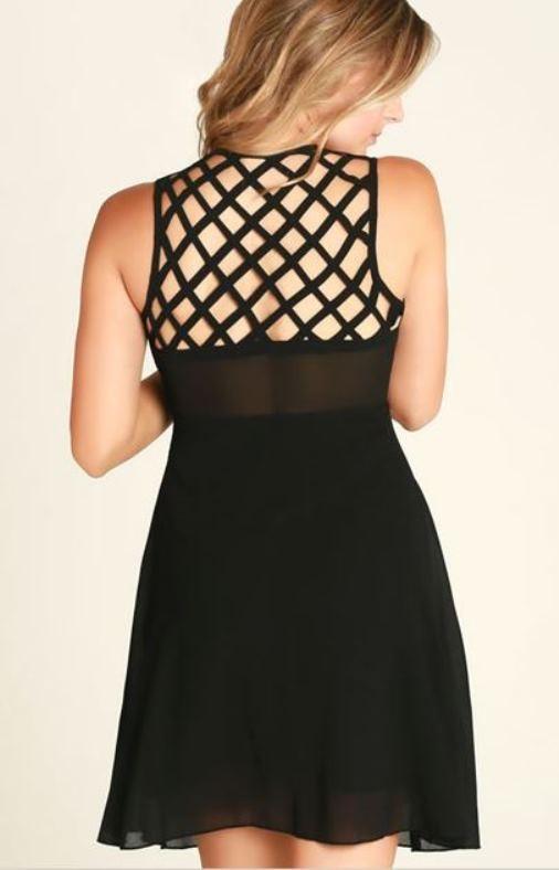 Black Criss-Cross Strappy Panel Skater Dress