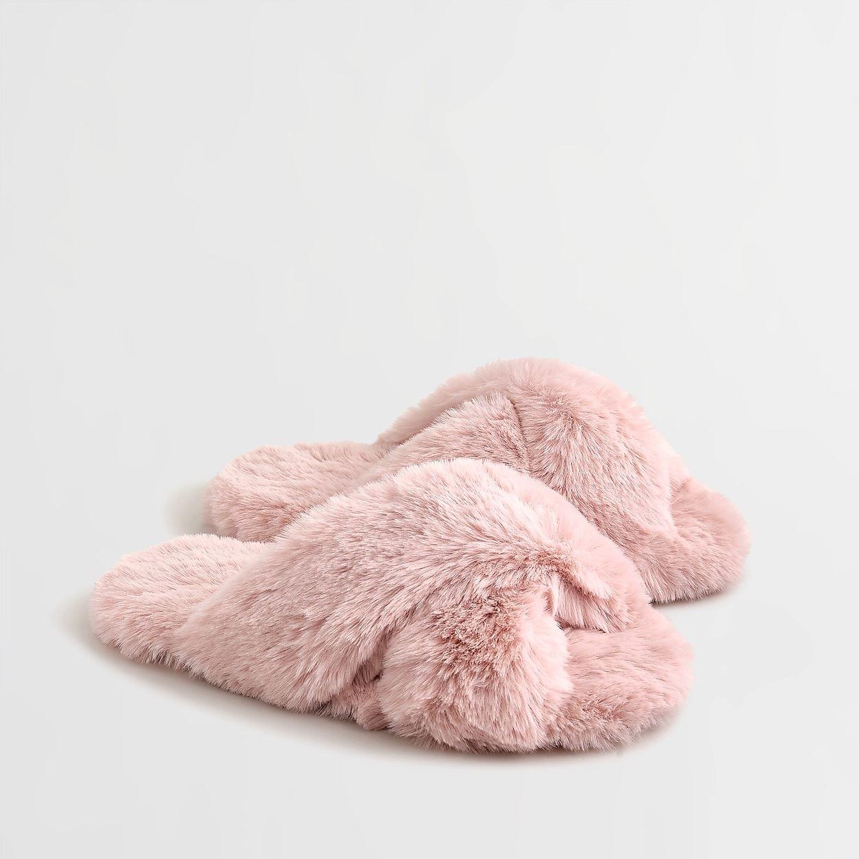 Fuzzy Criss-Cross Slippers