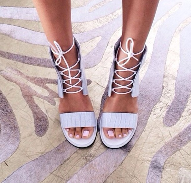 shoes white shoe strings spring gladiators sandals heels cute high heels