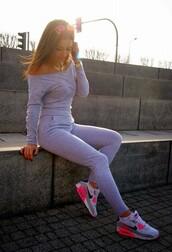 pants,grey pants,grey sweater,shoes,sweater,jumpsuit