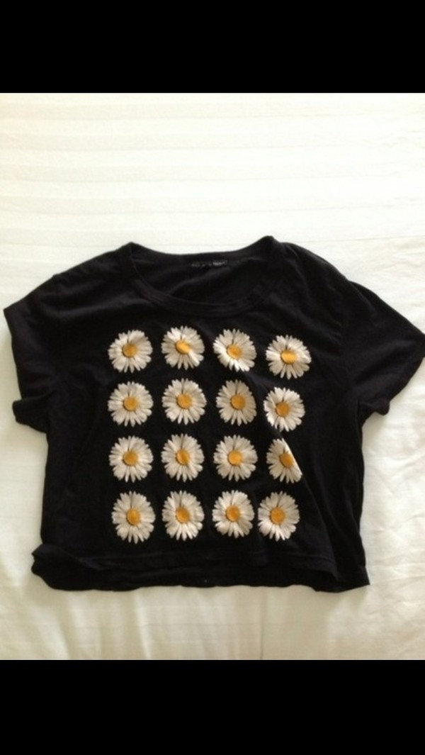 shirt black daisy hipster vintage beautiful tumblr tumblr clothes perfect