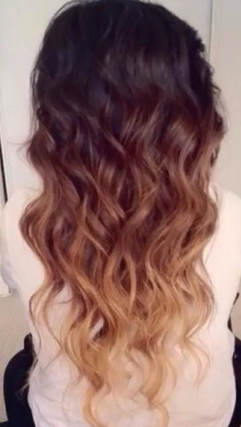 blouse hair accessory cute ombre hair curly hair long