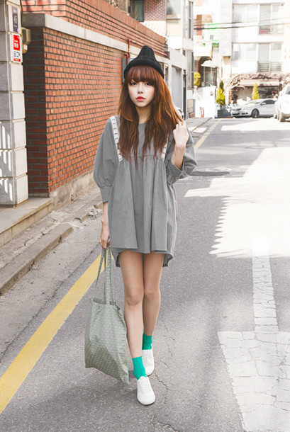 Dress Grey Girl Asian Ulzzang Grey Dress Korean Fashion Wheretoget
