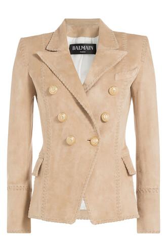 blazer suede beige jacket