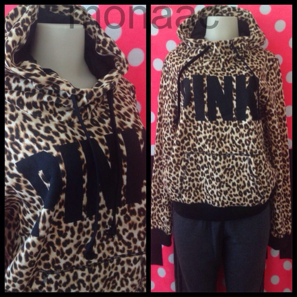 Victoria's Secret PINK Funnel Neck Pullover Hoodie ALL OVER LEOPARD NWT XSMALL