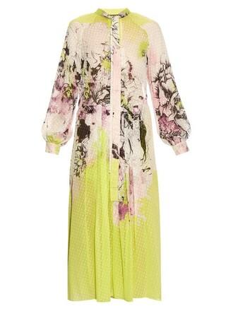 dress floral print silk yellow