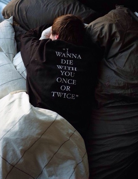 sweater hoodie shirt black lyrics die twice quote on it band fashion style white black