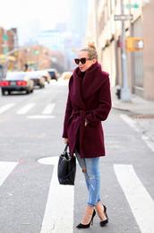 coat,burgundy,chic,burgundy sweater