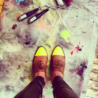 shoes neon derbies flat flats leather cute girl girly swag